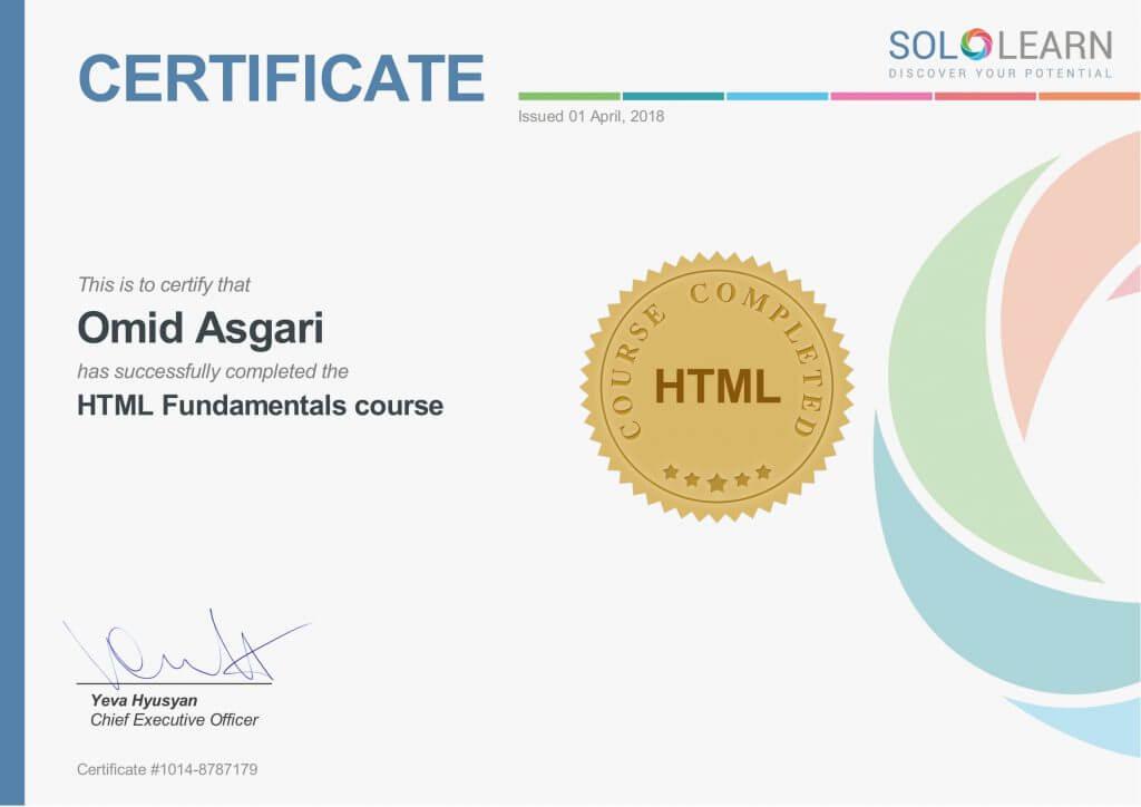 Omid Asgari Certificate HTML