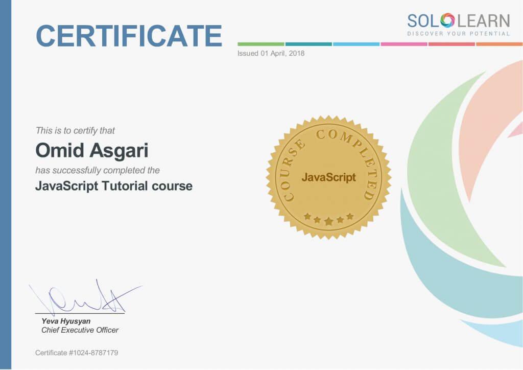 Omid Asgari Certificate JavaScript