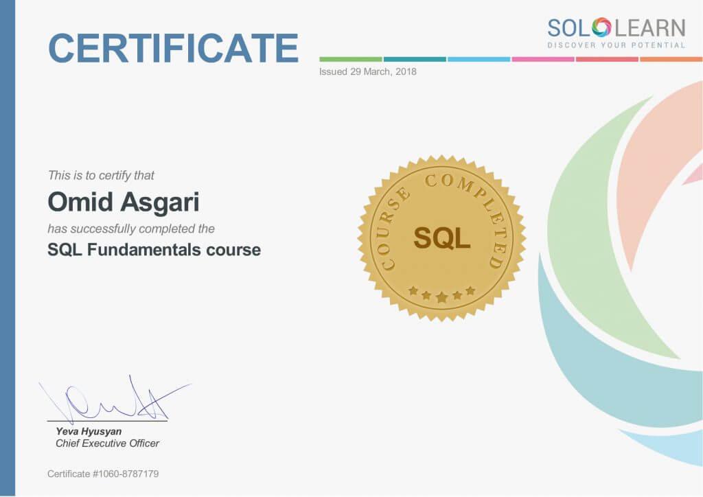 Omid Asgari Certificate SQL